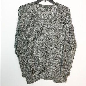 Eddie Bauer L Sweater Black White Crewneck Cotton